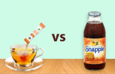 Compare lecharm tea with sugary drink